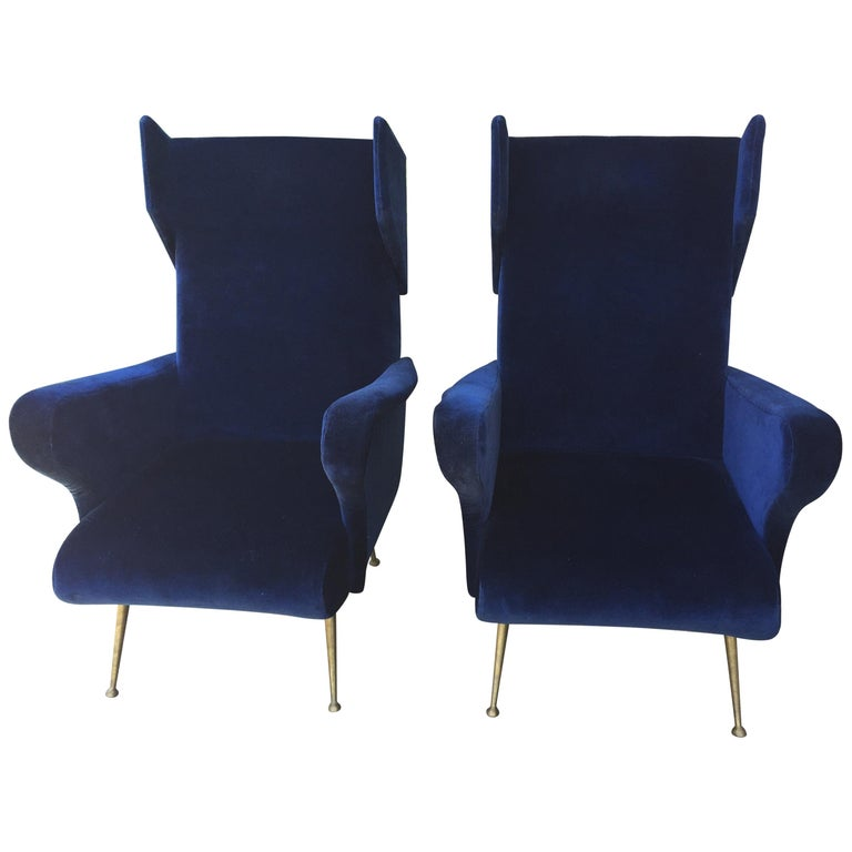 Pair of Vintage Ponti inspired Wingback Chairs For Sale