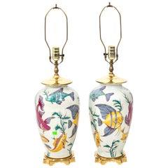 Pair of Vintage Porcelain Crackle Glaze Tropical Fish Motif Lamps