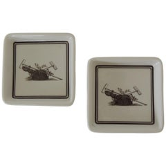 Pair of Vintage Porcelain Square Black and White Coasters with Garden Scene