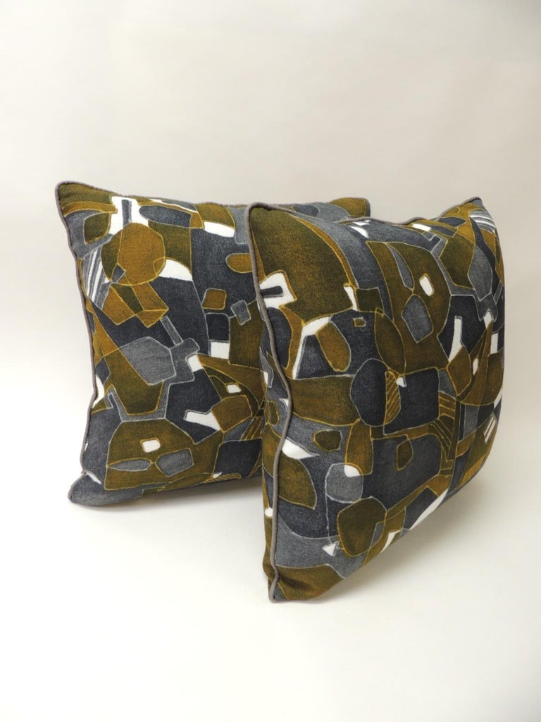 Pair of vintage decorative graphic pillows in grey, brown and Blue Throw pillows handcrafted and designed in the USA.  Custom made pillow inserts and closure with invisible zipper. Size: 19 x 19 x 6. Offered By Antique Textiles Galleries Home