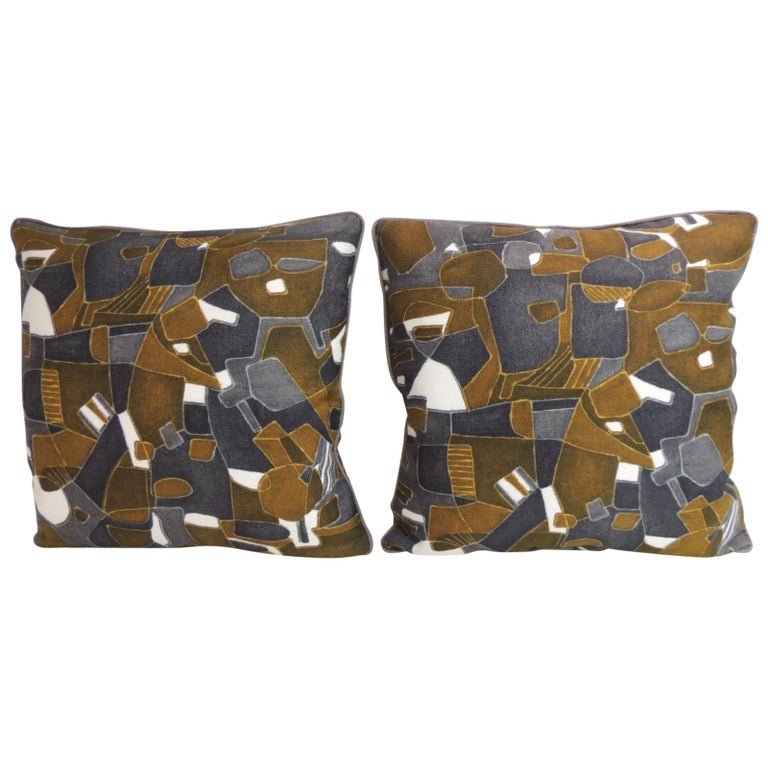 Pair of Vintage Printed Blue and Grey Square Decorative Pillows For Sale