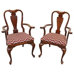 Pair of Vintage Queen Anne Cherry Arm Dining Chairs