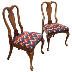 Pair of Vintage Queen Anne Cherry Side Dining Chairs