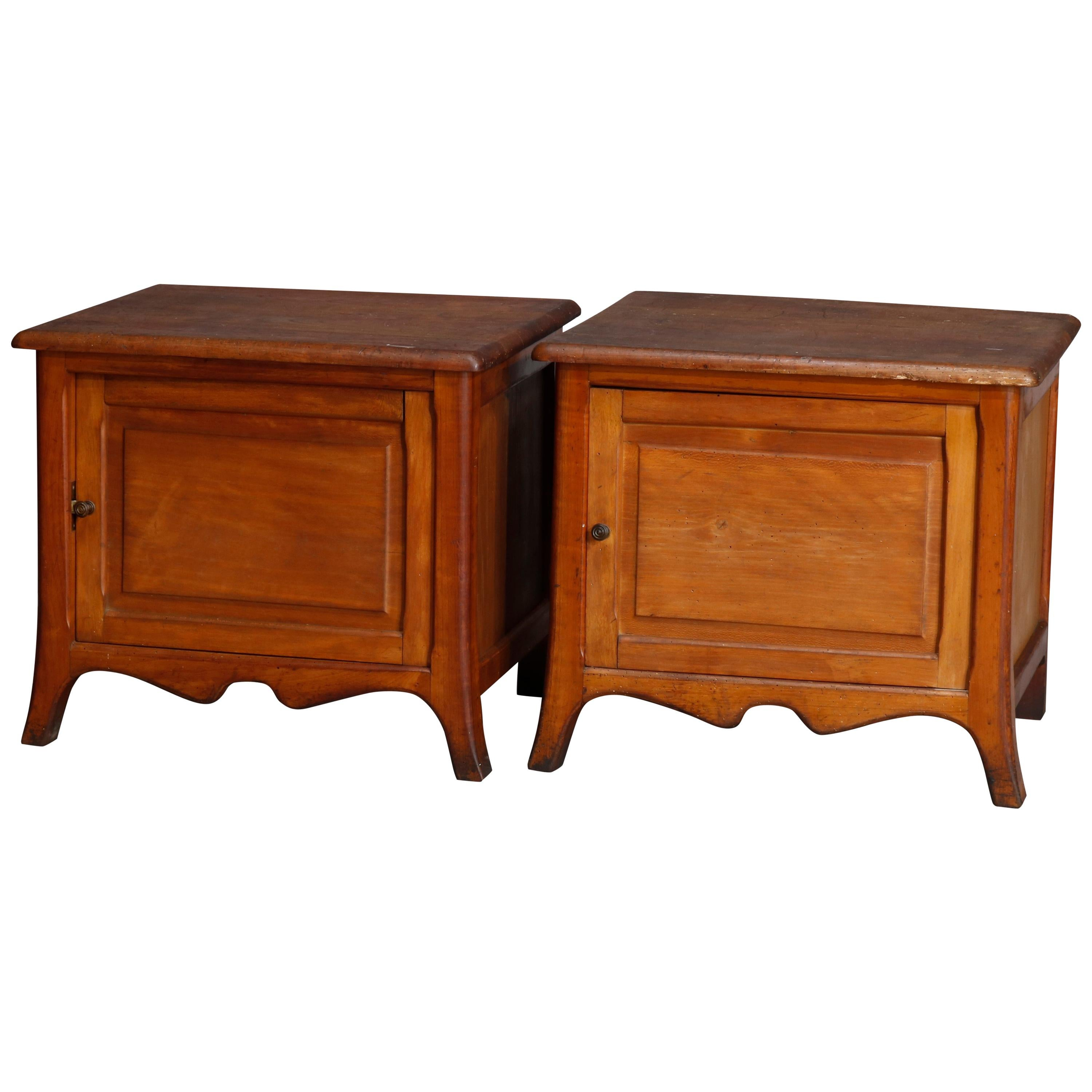 Pair of Vintage Raised Panel Maple Single Door Side Stands Cabinets 20th Century