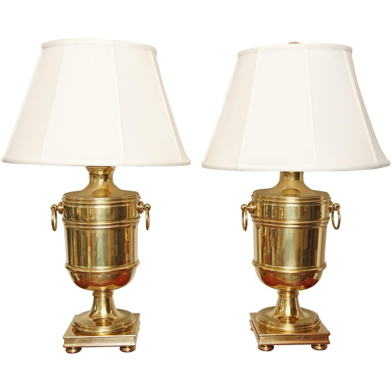 Pair of Vintage Ralph Lauren Brass Urn Style Lamps For Sale