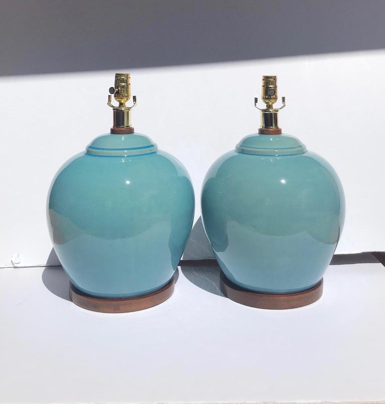 Pair of Vintage Ralph Lauren Chinese Pottery Lamps in Robin's Egg Blue 5