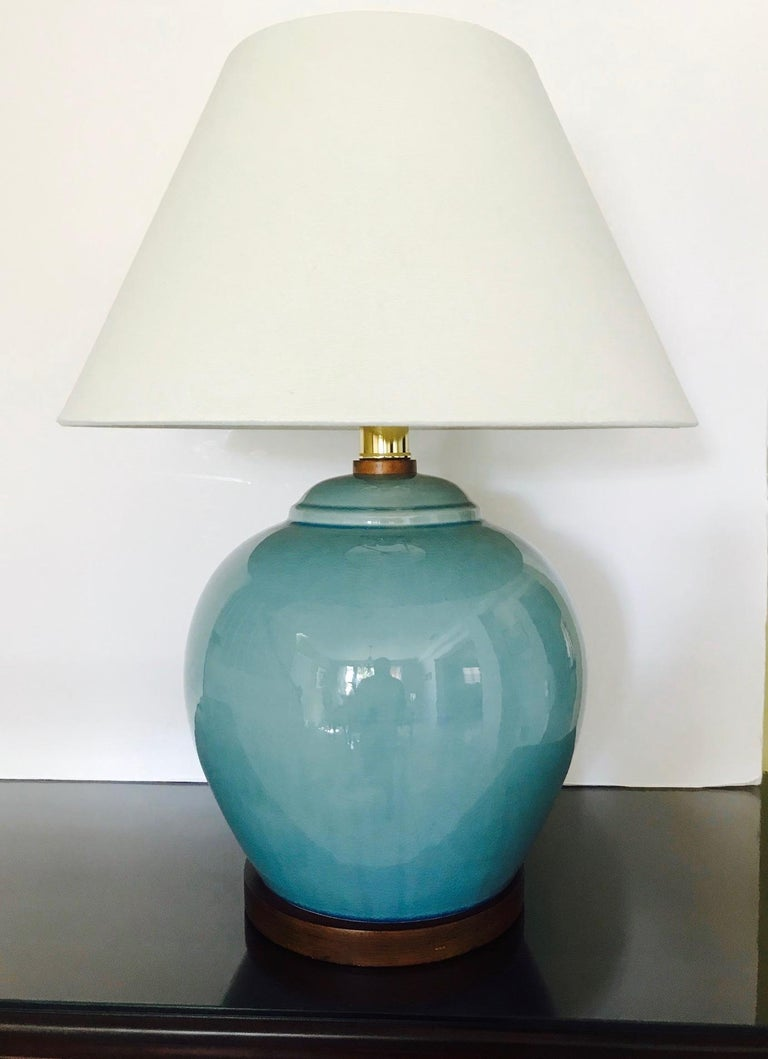 Glazed Pair of Vintage Ralph Lauren Chinese Pottery Lamps in Robin's Egg Blue
