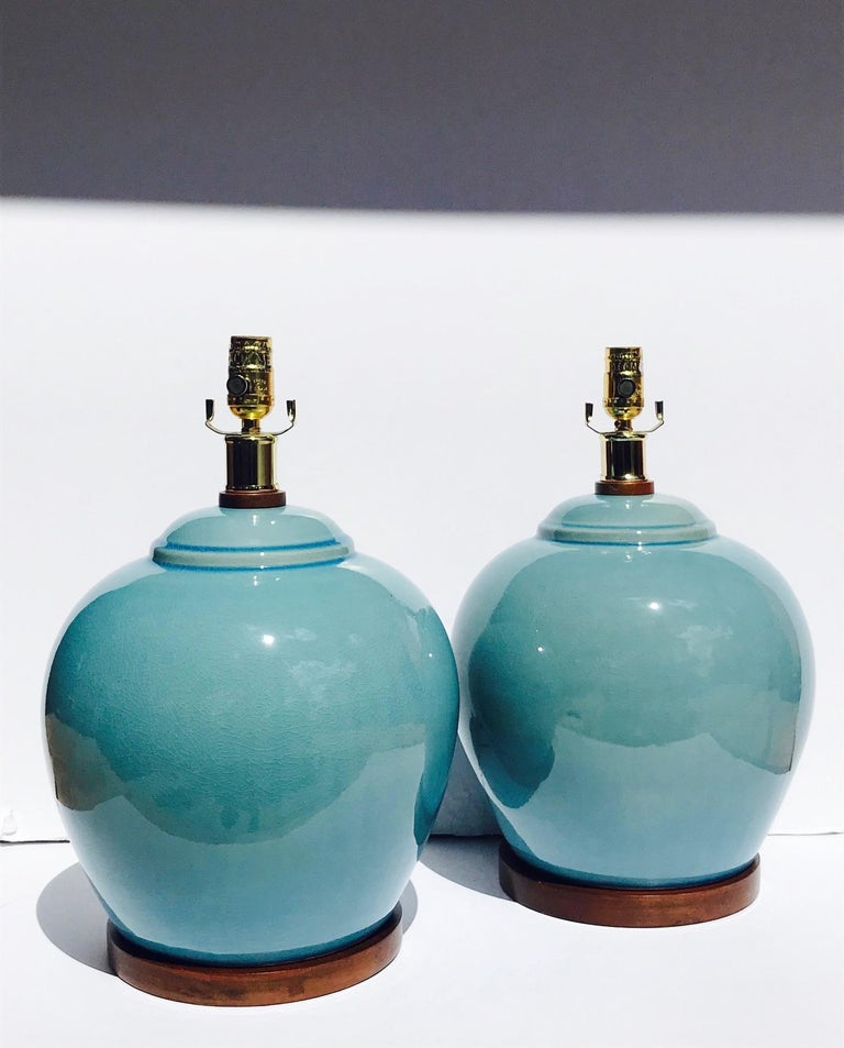 Pair of Vintage Ralph Lauren Chinese Pottery Lamps in Robin's Egg Blue In Good Condition In Miami, FL