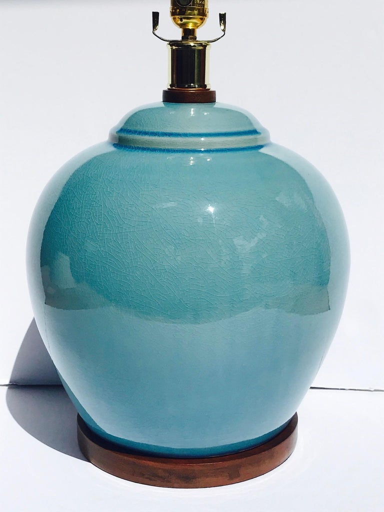 Contemporary Pair of Vintage Ralph Lauren Chinese Pottery Lamps in Robin's Egg Blue