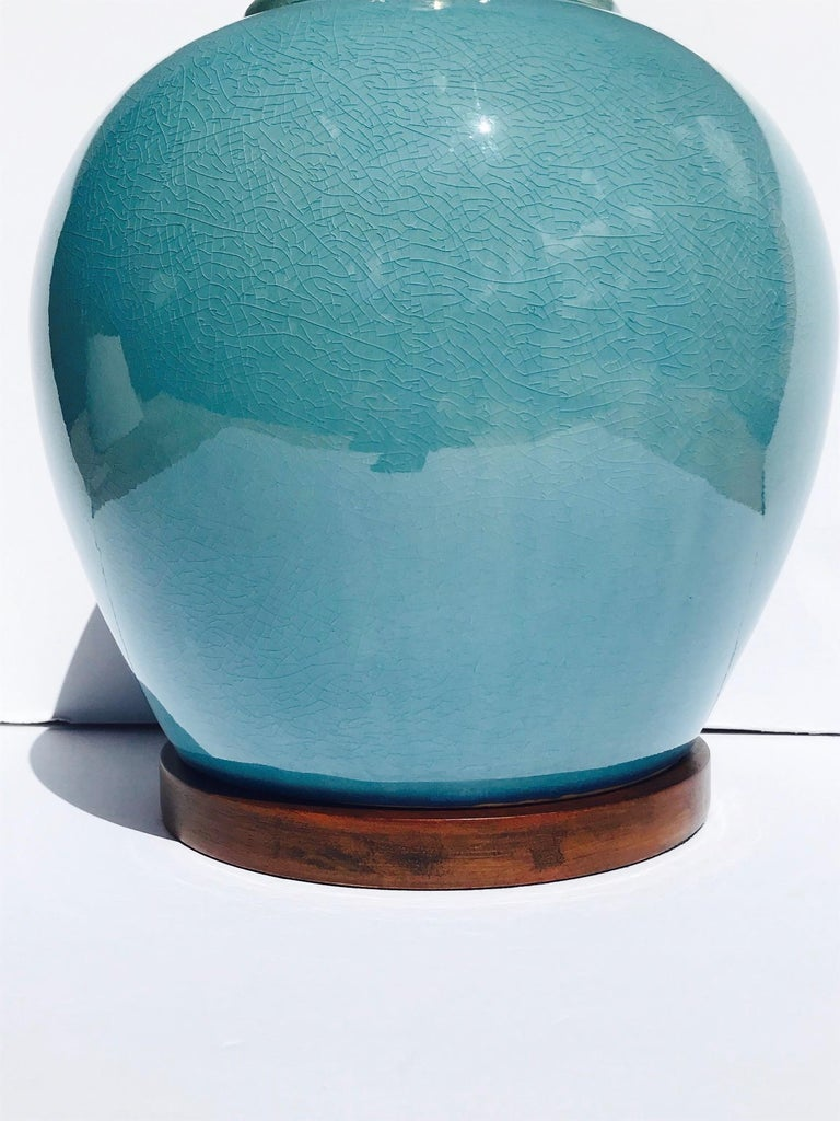 Pair of Vintage Ralph Lauren Chinese Pottery Lamps in Robin's Egg Blue 2