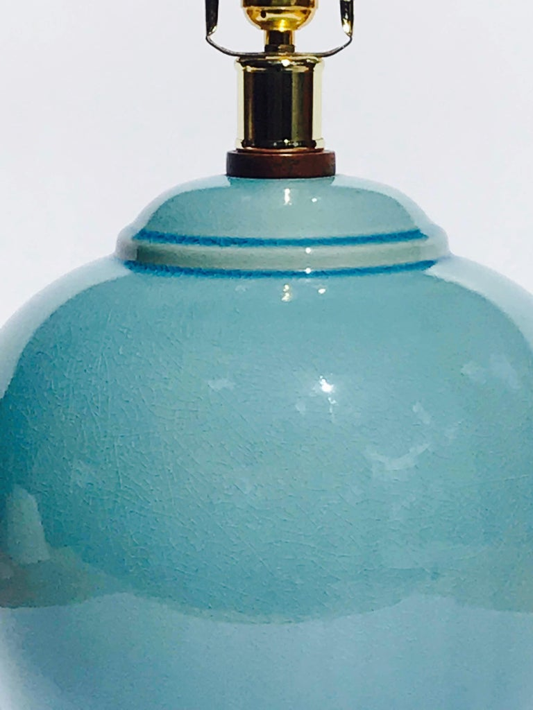 Pair of Vintage Ralph Lauren Chinese Pottery Lamps in Robin's Egg Blue 3