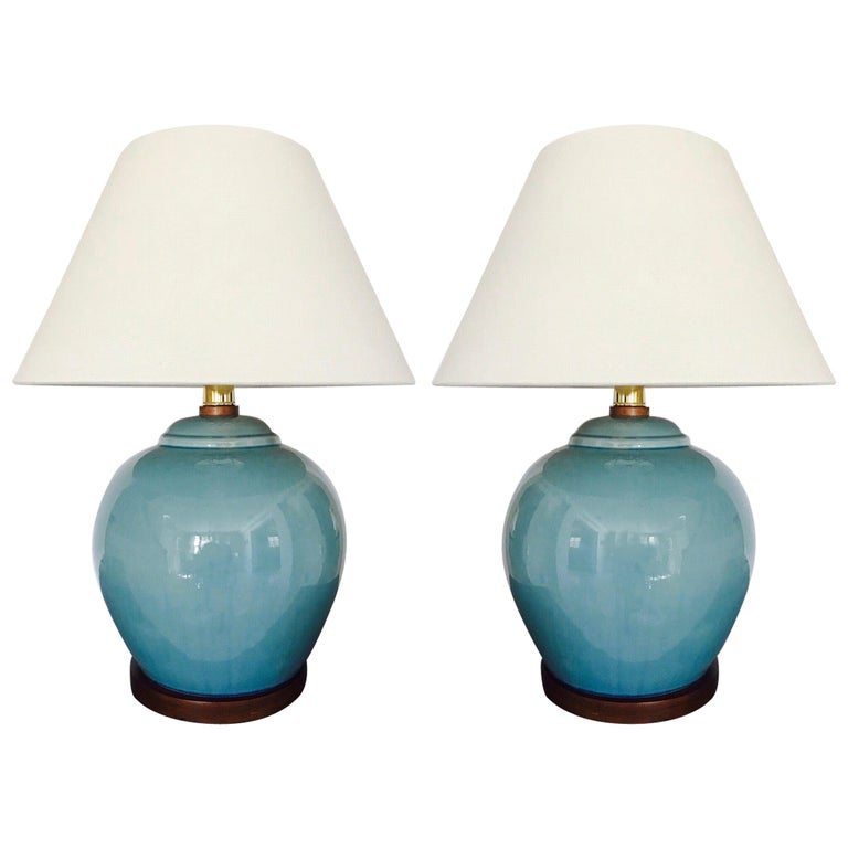 Pair of Vintage Ralph Lauren Chinese Pottery Lamps in Robin's Egg Blue