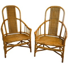 Pair of Vintage Rattan and Bentwood Armchairs