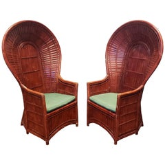 Pair of Vintage Rattan Bamboo Peacock Chairs