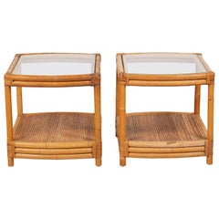 Pair of Vintage Rattan Bamboo Two-Tier Glass Top Curved End Side Tables
