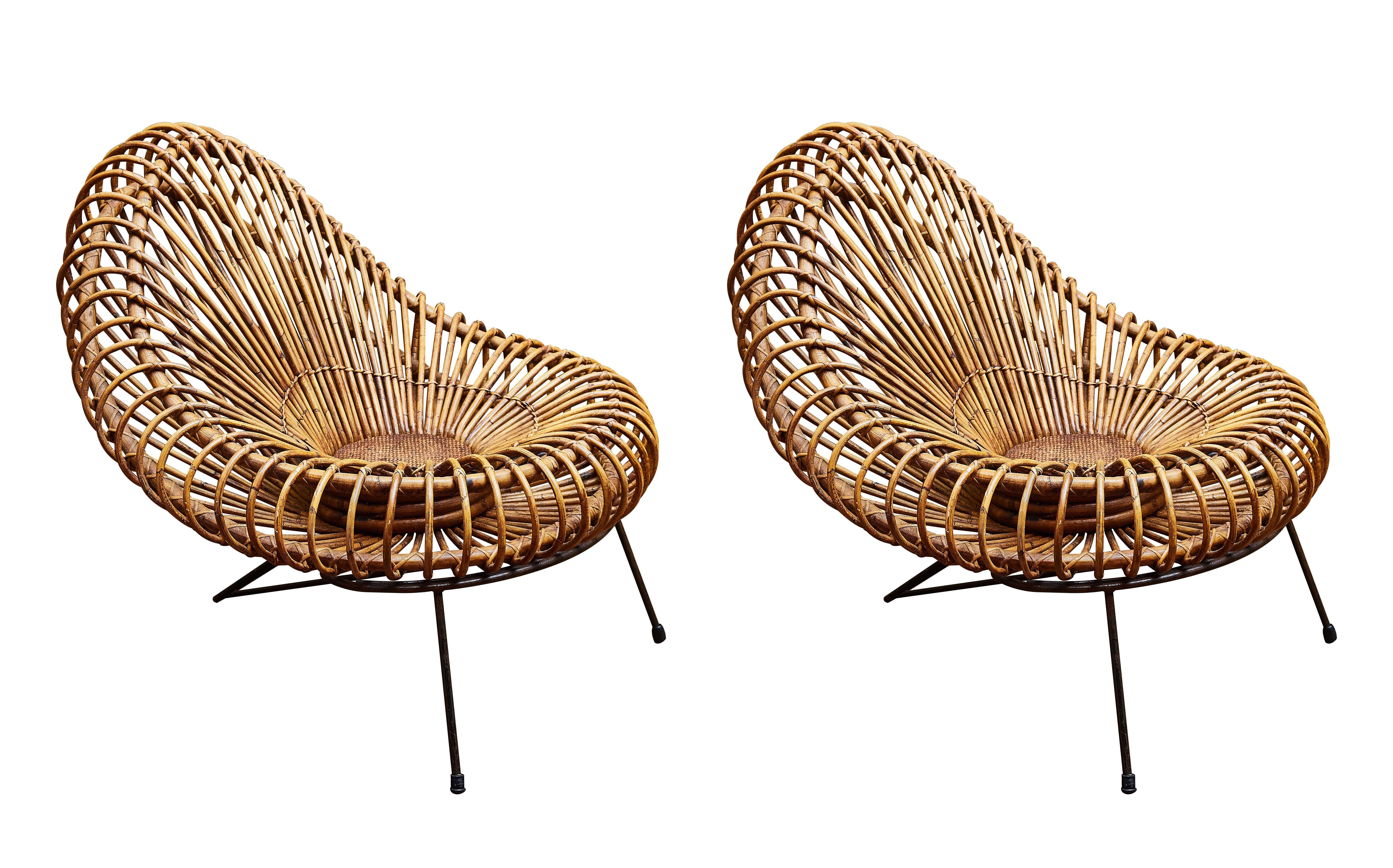 Pair Of Vintage Rattan Chairs By Janine Abraham For Sale At 1stdibs