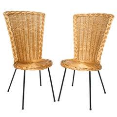 Pair of Vintage Rattan Chairs on Metal Legs
