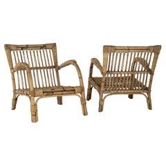 Pair of Vintage Rattan Lounge Armchairs