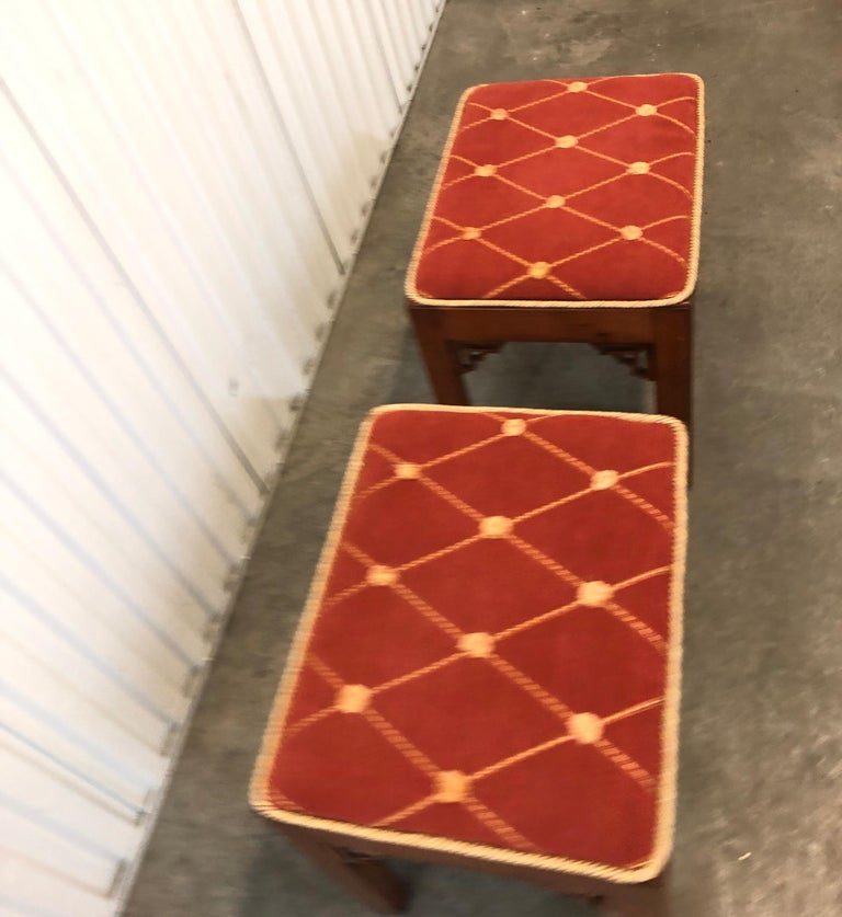 Asian Pair of Vintage Rectangular Fretwork Upholstered Benches For Sale