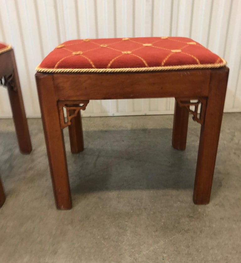 Pair of Vintage Rectangular Fretwork Upholstered Benches In Good Condition For Sale In Oakland Park, FL