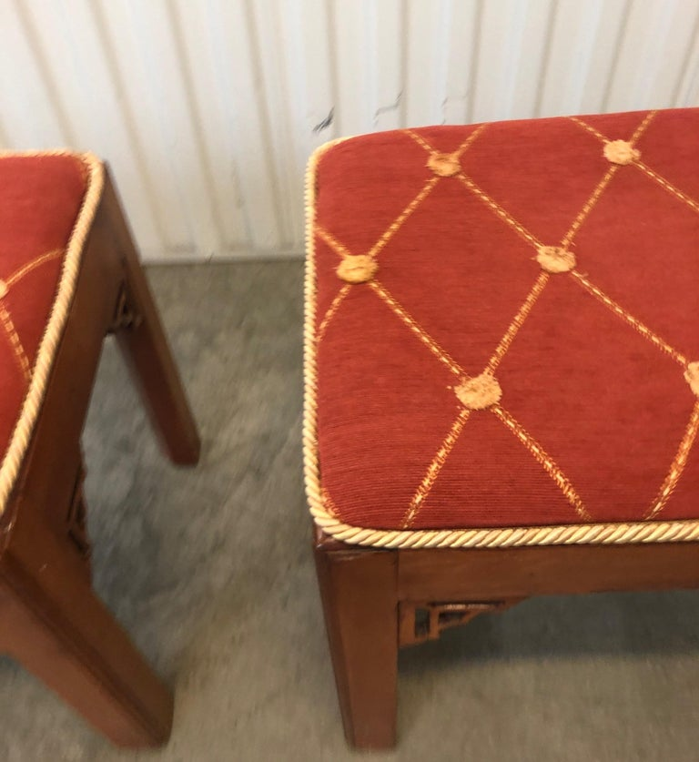 Late 20th Century Pair of Vintage Rectangular Fretwork Upholstered Benches For Sale