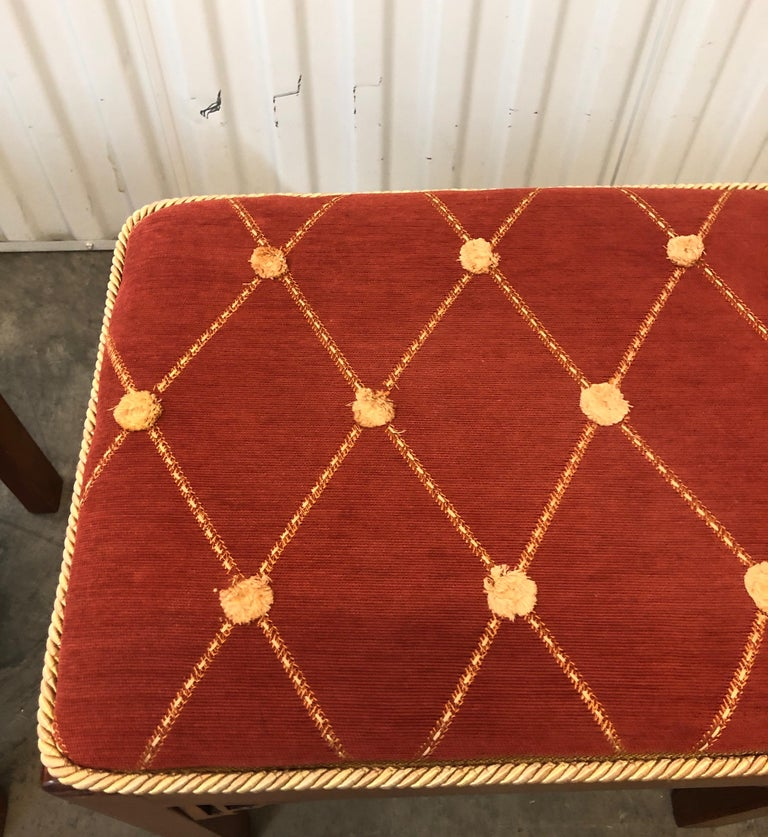 Textile Pair of Vintage Rectangular Fretwork Upholstered Benches For Sale