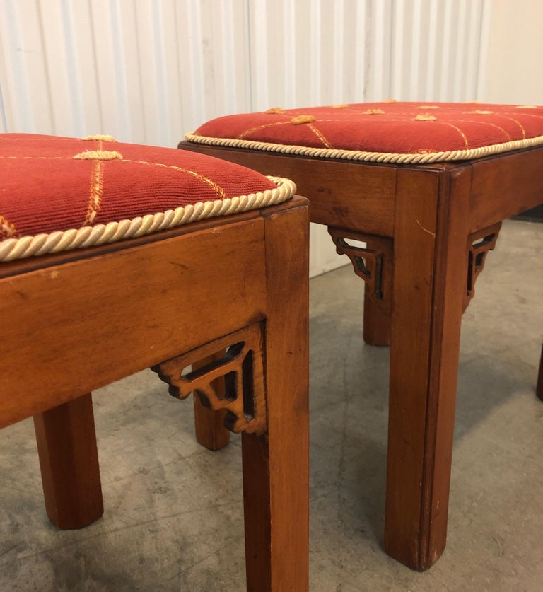 Pair of Vintage Rectangular Fretwork Upholstered Benches For Sale 1