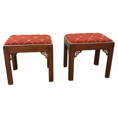 Pair of Vintage Rectangular Fretwork Upholstered Benches