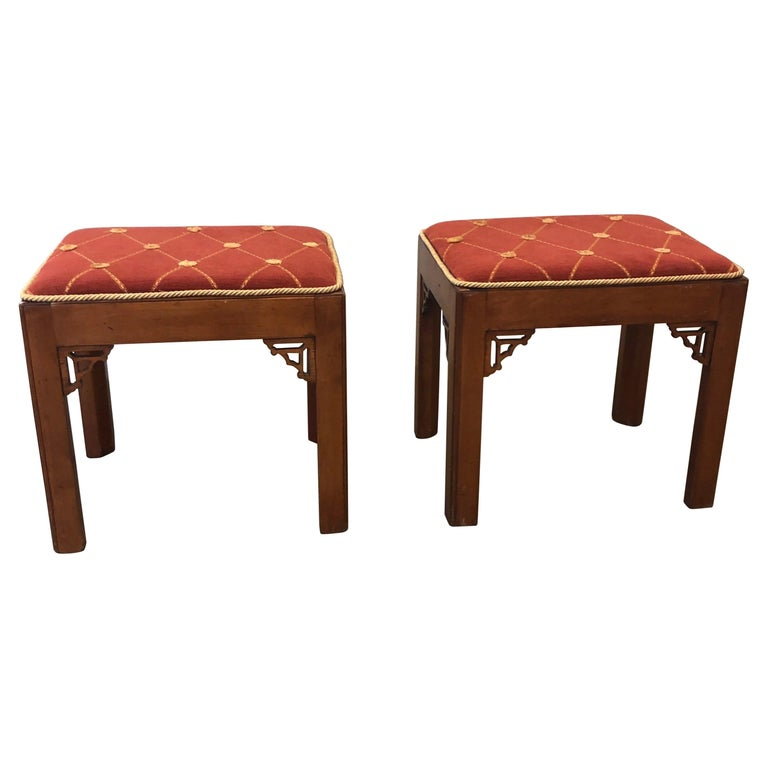 Pair of Vintage Rectangular Fretwork Upholstered Benches For Sale
