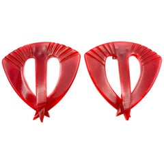 Pair of Vintage Red Bakelite Accessory Clips