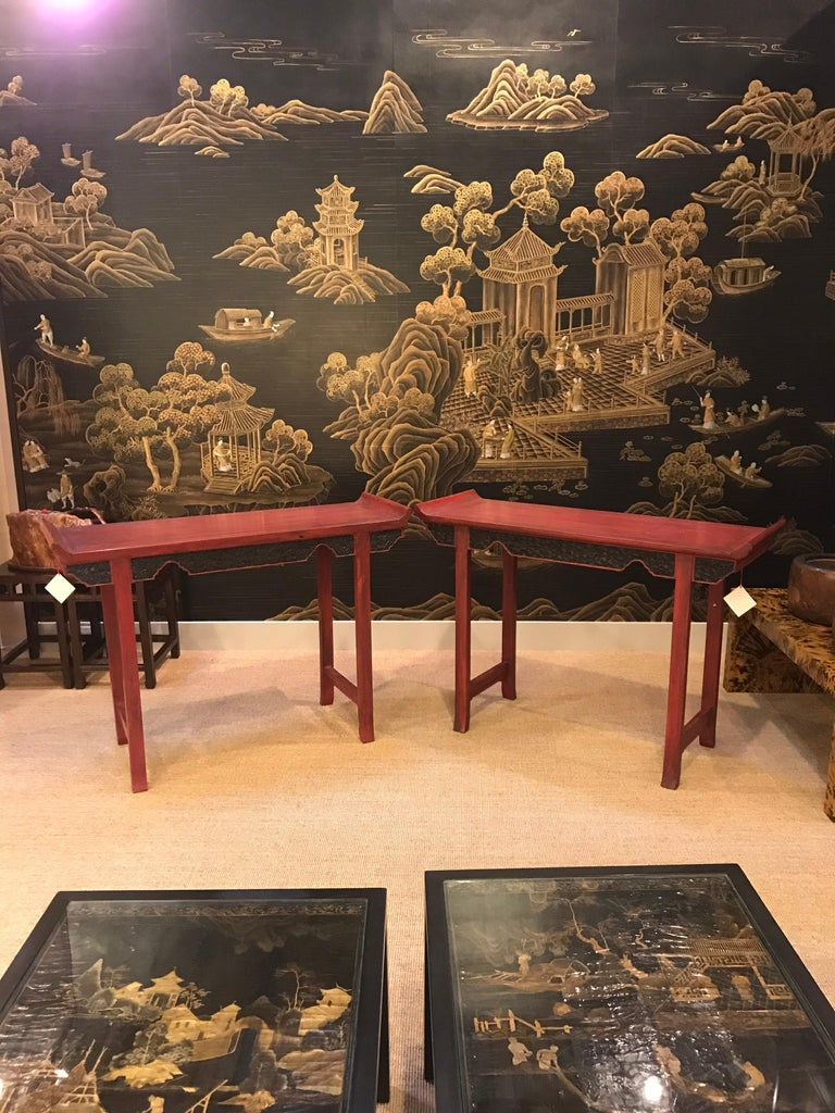Chinese Pair of Vintage Red Lacquer Consoles For Sale