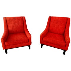 Pair of Vintage Red Lounge Club Chairs