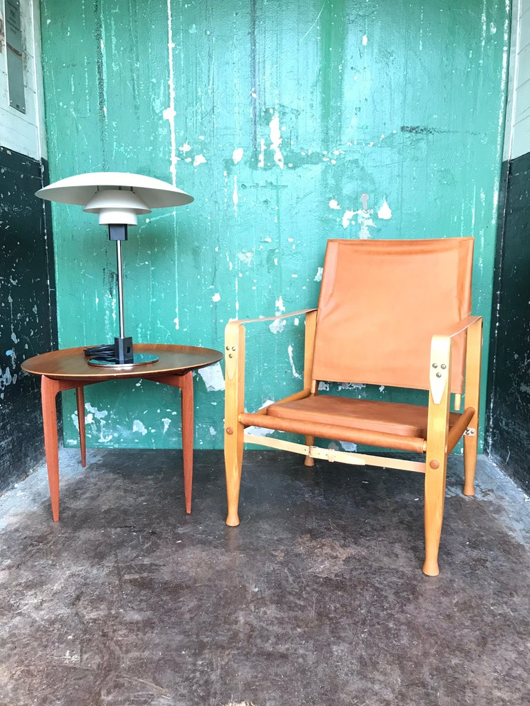 Pair of Vintage Refurbished Kaare Klint Safari Lounge Chairs For Sale 7