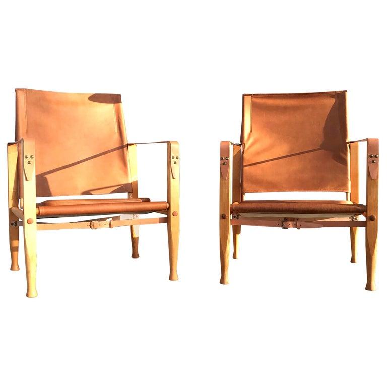 Pair of Vintage Refurbished Kaare Klint Safari Lounge Chairs For Sale