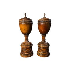Pair of Vintage Regency Carved Wood Lidded Urns, circa 1950