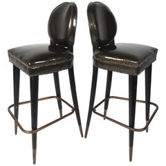 Pair of Vintage Regency Style Bar Stools with Brass Accents