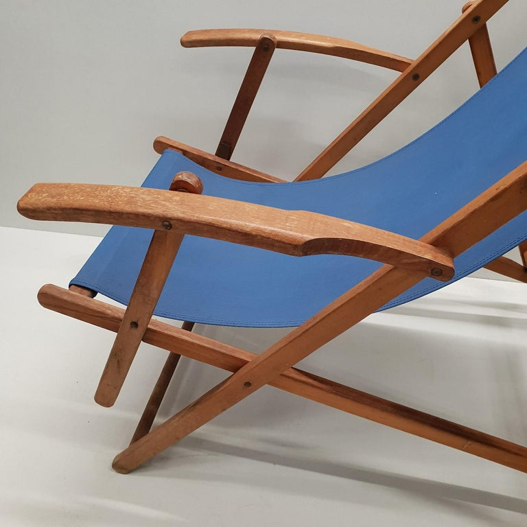 Pair Of Vintage Retro Wooden Folding Beach Chairs With Armrests And Canvas 1950s For 5