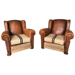 Pair of Vintage Reupholstered French Club Chairs