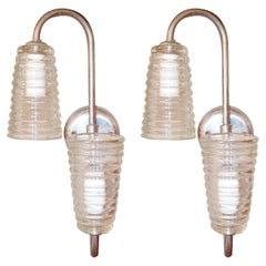 Pair of Vintage Ribbed Glass Sconce