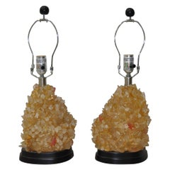Pair of Vintage Rock Crystal Lamps, circa 1970s