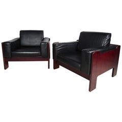 Pair of Vintage Rosewood and Vinyl Cube Lounge Chairs