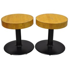 Pair of Vintage Round Butcher Block Wood Industrial Cast Iron Pedestal Stools