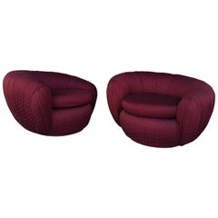 Pair of Vintage Ruched Burgundy Jacquard Swivel Chairs