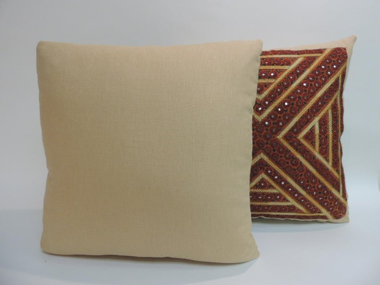 Hand-Crafted Pair of Vintage Rust and Green Embroidered Indian Square Pillows For Sale