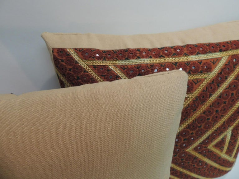 Pair of Vintage Rust and Green Embroidered Indian Square Pillows In Good Condition For Sale In Wilton Manors, FL