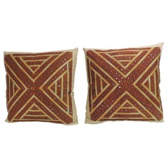 Pair of Vintage Rust and Green Embroidered Indian Square Pillows