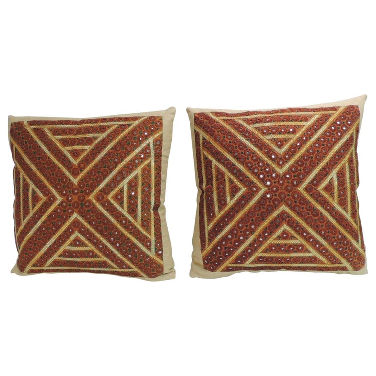 Pair of Vintage Rust and Green Embroidered Indian Square Pillows For Sale