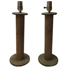 Pair of Vintage Rustic Wood Found Object Table Lamps