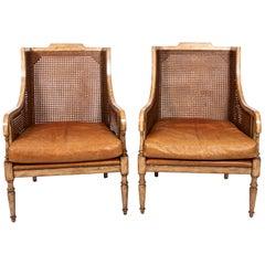 Pair of Vintage Sarreid Ltd. Cane Back Chairs