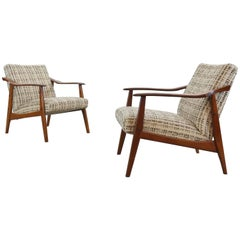 Pair of Vintage Scandinavian Easy Chairs, Lounge Chairs in Teak, 1960s